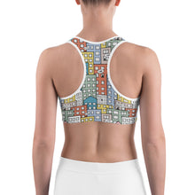 Load image into Gallery viewer, Model wearing one city many wishes sports bra - back