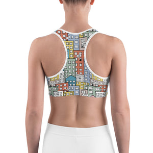 Model wearing one city many wishes sports bra - back