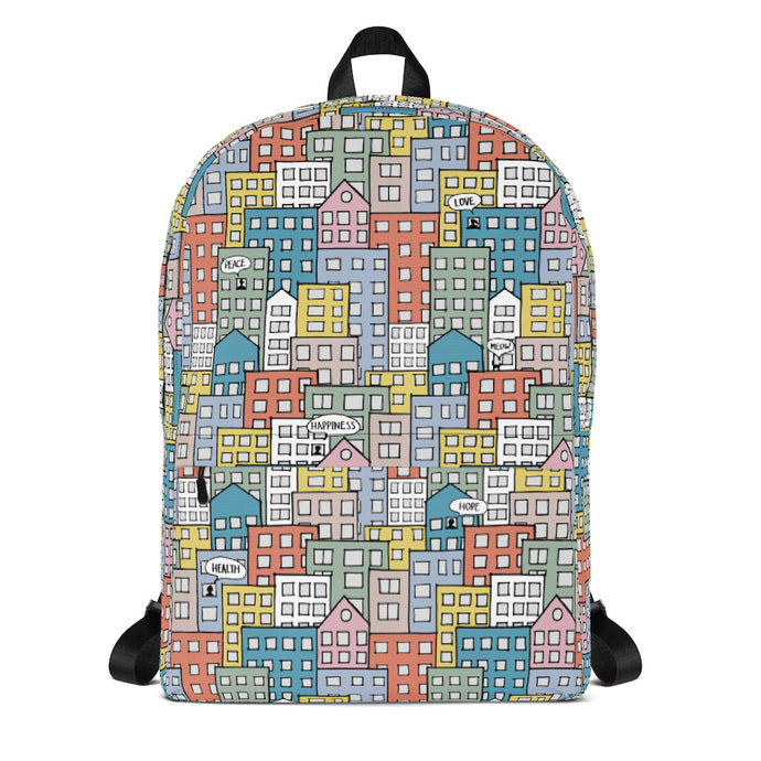 Backpack wishes in the buidings by Varanda Design