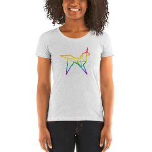 Origami unicorn color ladies' short sleeve t-shirt - VARANDA DESIGN