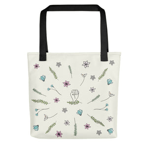 Back vew of the tote bag by Varanda Design - hand-drawn art with woman power message.