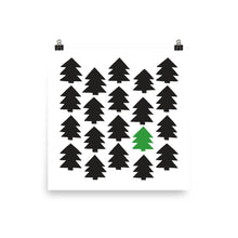 Load image into Gallery viewer, Christmas 365 art by Varanda Design - poster of pine trees in square format