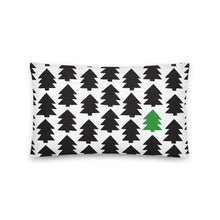 Load image into Gallery viewer, Christmas pine tree art by Varanda Design on a 20x12 (In) pillow - available on varanda.store website