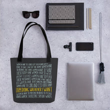 Load image into Gallery viewer, Tote bag women's empowerment and personal objects - black handle