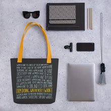 Load image into Gallery viewer, Tote bag women's empowerment and personal objects - yellow handle