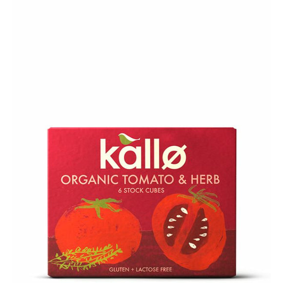 KALLO Org Tomato & Herb Stock Cube       Size - 15x6x11g - Mintons Good Food | Food Wholesaler & Contract Packaging | Pre Pack & Healthfoods | Wales