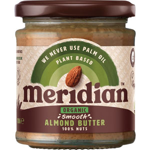 MRS DARLINGTONS JAMS, Mintons Good Food, MERIDIAN NUT BUTTERS Organic Smooth Almond Butter    5. Size - 6x170g,