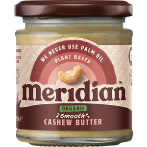 MERIDIAN NUT BUTTERS Organic Smooth Cashew Butter       Size - 6x170g - Mintons Good Food | Food Wholesaler & Contract Packaging | Pre Pack & Healthfoods | Wales