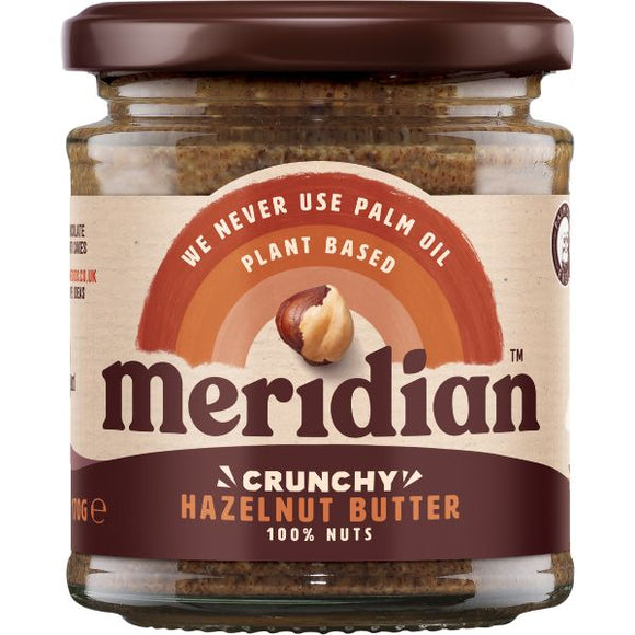 MERIDIAN NUT BUTTERS Hazelnut Butter Crunchy 100% Nuts  Size - 6x170g - Mintons Good Food | Food Wholesaler & Contract Packaging | Pre Pack & Healthfoods | Wales