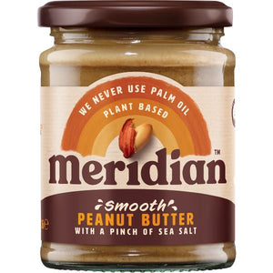 MERIDIAN NUT BUTTERS Peanut Butter Smooth With Salt     Size - 6x280g - Mintons Good Food | Food Wholesaler & Contract Packaging | Pre Pack & Healthfoods | Wales