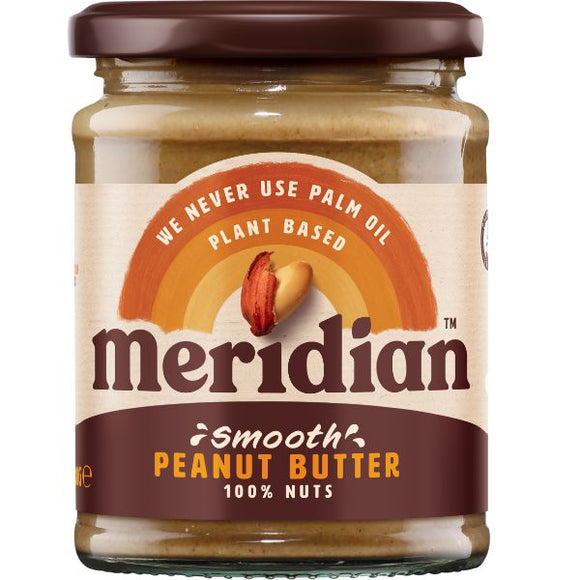 MERIDIAN NUT BUTTERS Peanut Butter Smooth 100% Nuts     Size - 6x280g - Mintons Good Food | Food Wholesaler & Contract Packaging | Pre Pack & Healthfoods | Wales