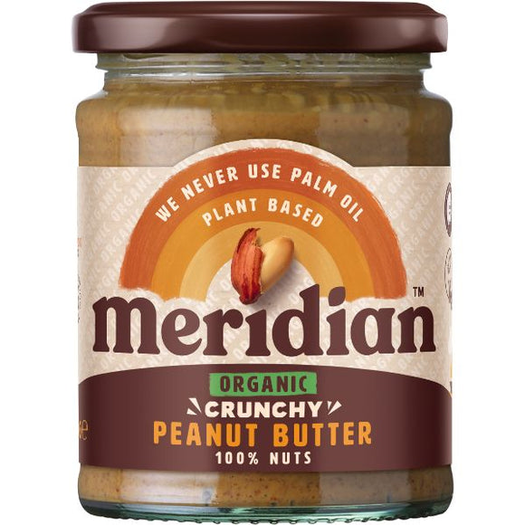 MERIDIAN NUT BUTTERS Org Peanut Butter Crunchy 100% Nut Size - 6x280g - Mintons Good Food | Food Wholesaler & Contract Packaging | Pre Pack & Healthfoods | Wales