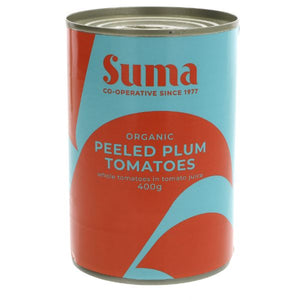 Mintons Good Food SUMA Organic Peeled Plum Tomatoes       Size - 12x400g