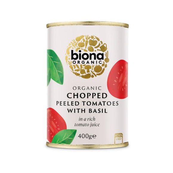 Mintons Good Food BIONA Organic Chopped Tomatoes & Basil   Size - 12x400g