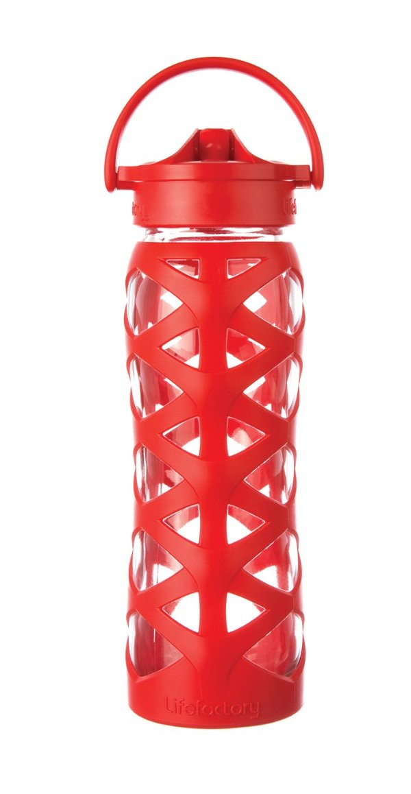 Lifefactory 22 oz Glass Water Bottle - Charged Red