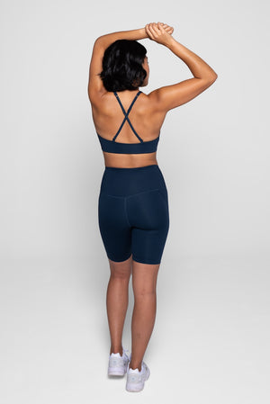 Girlfriend Collective Midnight Shorts Back
