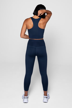 Girlfriend Collective Midnight Sports Bra & Leggings Back