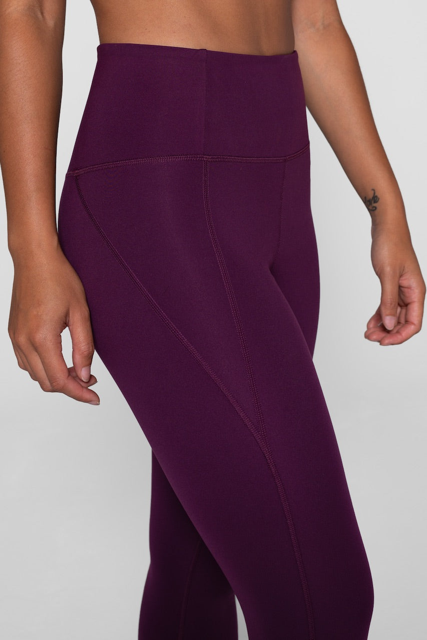 Girlfriend Collective Plum Leggings Close Up