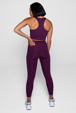 Girlfriend Collective Plum Bra & Leggings Back
