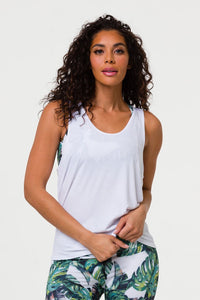 Onzie White Slit Back Tank