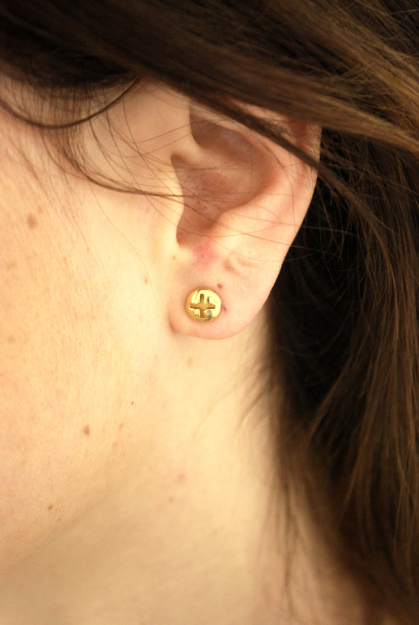 Phillips-Gold plated-Screw-Stud-Earrings