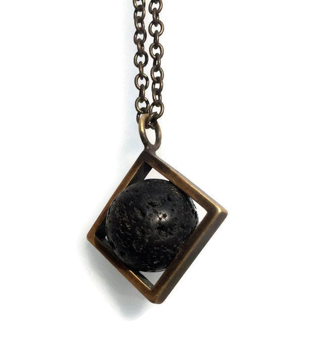 Volcanic-Lava ball-Brass-Necklace