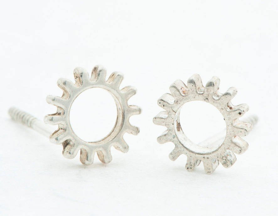 Cogs-Silver-Studs-Earrings