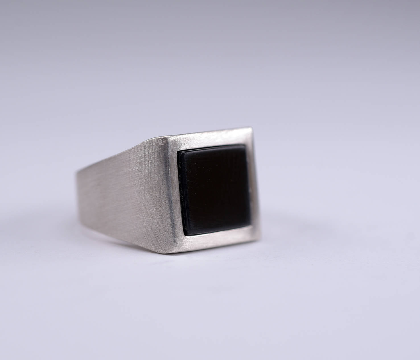 Black square-Onyx-Silver-Signet-Ring