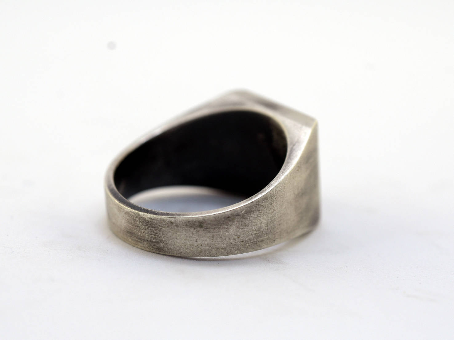 Black Square Lava-Silver-Ring