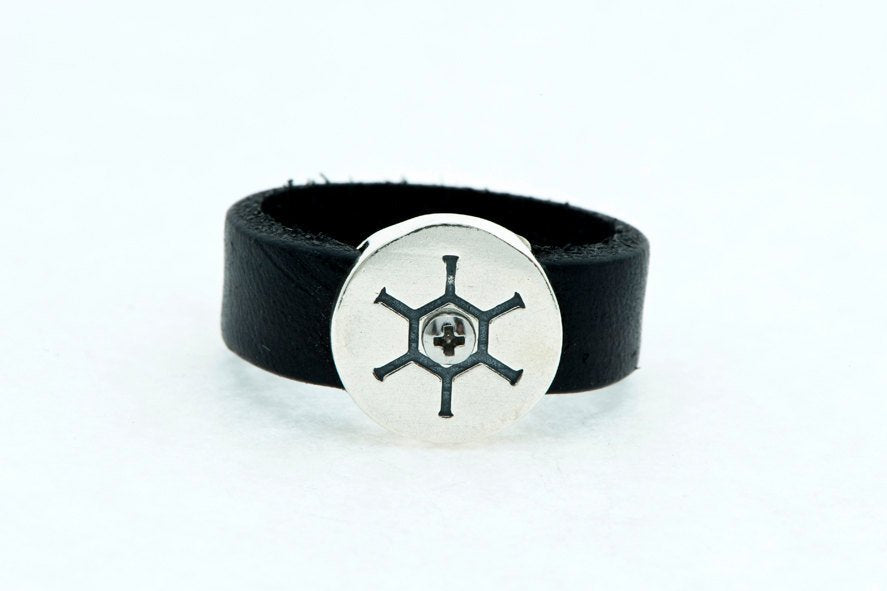 Tribal Head-Round-Silver-Leather-Ring