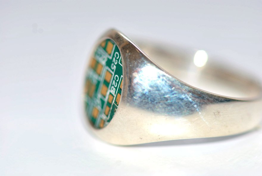 Treasure map-Silver-Signet-Ring