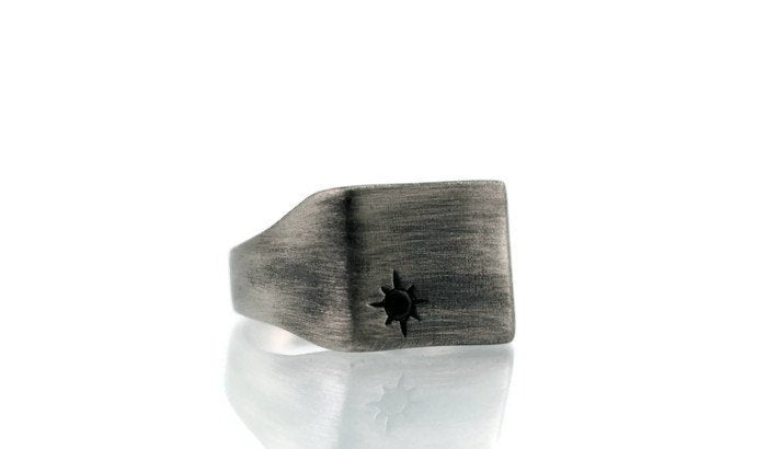 Zircon Star-Square-Silver-Signet-Ring