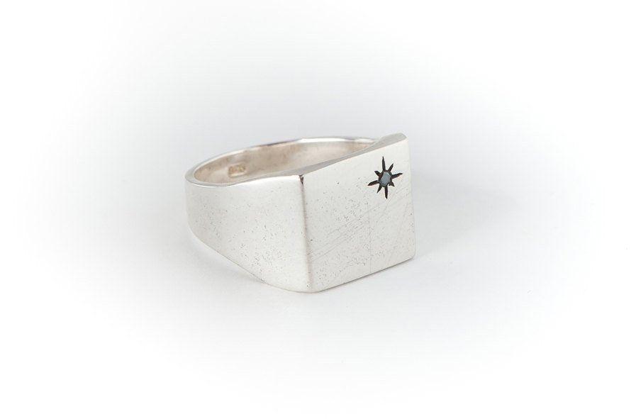 Black Diamond Star-Square-Silver-Signet-Ring