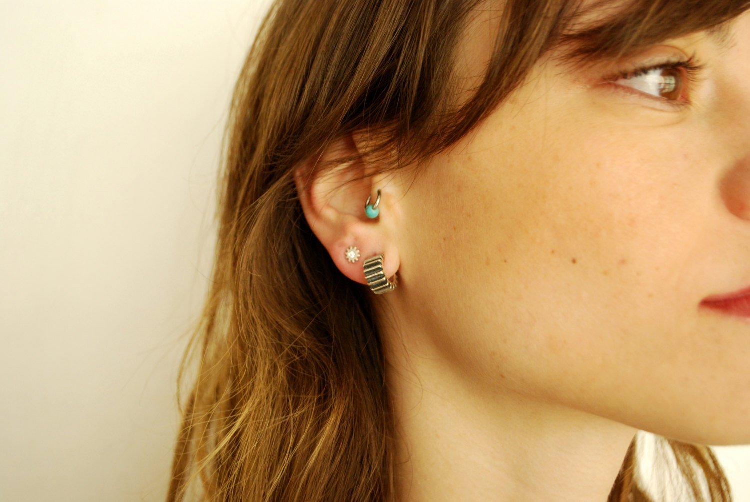 Wide Cog-Silver-Stud-Earrings