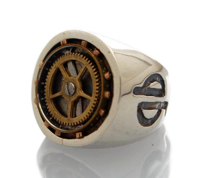 Compass Punk-Silver-Signet-Ring