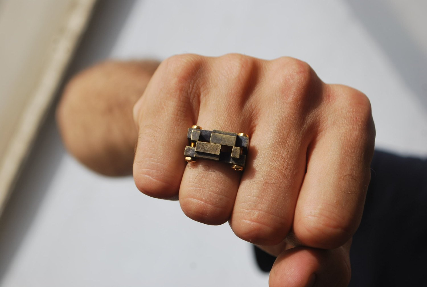 Double Square Pixel-Brass-Ring