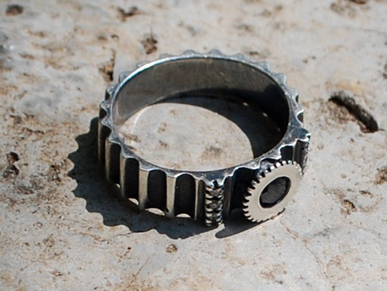 Royal Steampunk-Black Diamond Silver Ring