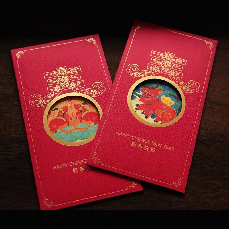 6 Chinese New Year 2021 Year of the Ox Red Envelopes