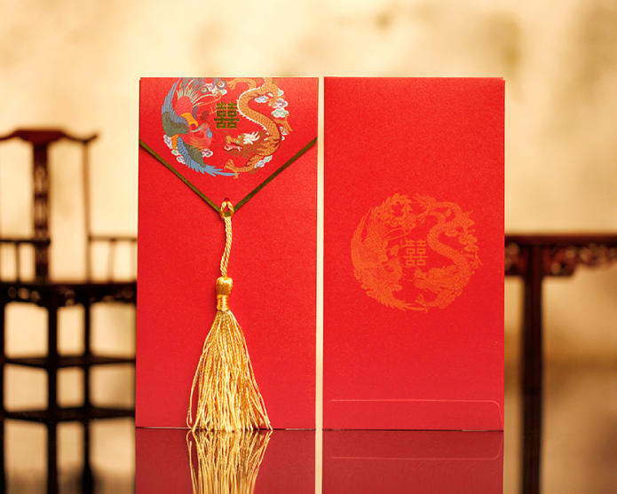 Dragon & Phoenix Double Happiness Chinese Wedding Red Money Envelopes