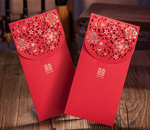 Double Happiness Chinese Wedding Laser Cut Red Money Envelopes