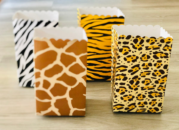 Animal Print / Safari Theme / Tiger / Leopard / Giraffe / Zebra  Favor Boxes / Treat Boxes / Popcorn Boxes