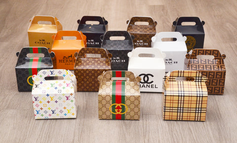 Gucci / Louis Vuitton / Burberry / Fendi / Chanel / Hermes / Versace / Coach / Dior / Louboutin / Prada Fashion Favor Boxes / Treat Boxes / Gift Boxes