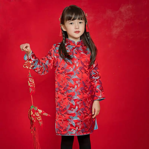 Red Butterfly Cheongsam Dress for Girls