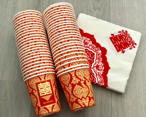 Chinese Double Happiness Paper Cups and Napkins for Wedding Tea Ceremony