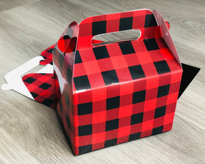 Black and Red Buffalo Plaid Favor Boxes / Treat Boxes / Gift Boxes