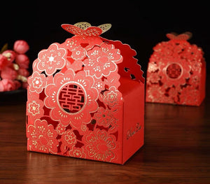 Chinese Wedding Double Happiness Cherry Blossom Favor Boxes