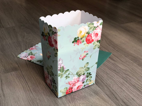 Shabby Chic Floral Rose Favor Boxes / Treat Boxes / Popcorn Boxes
