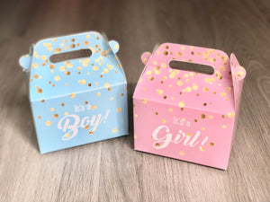 It's A Girl / It's A Boy Gender Reveal Party Pink / Blue Gold Confetti Favor Boxes / Treat Boxes / Gift Boxes