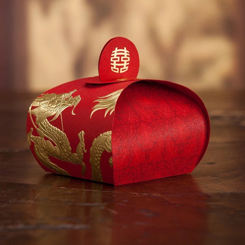 Chinese Wedding Double Happiness Dragon and Phoenix Favor Boxes