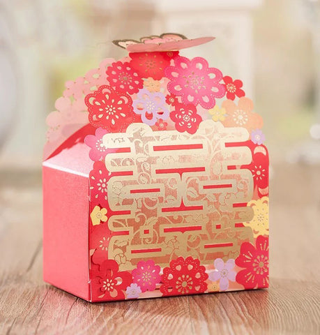 Chinese Wedding Double Happiness Butterfly Favor Boxes